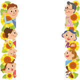 Three-generation family and sunflower. Close three-generation family and frame of the sunflower stock illustration