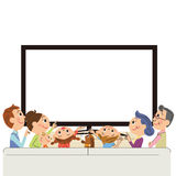 Three-generation family to see TV. I enjoy TV in living in three-generation family royalty free illustration