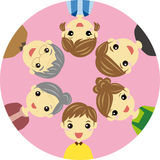 Three generation family. Together in a circle Royalty Free Illustration