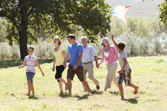 Three Generation Family Walking In Countryside Stock Photos