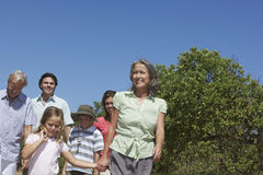 Three Generation Family Walking Outdoors Stock Photography