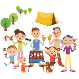 Three-generation family who camps. Three-generation family who enjoys camping and outdoor stock illustration