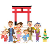 Three-generation family who goes to the Shinto shrine. Close three-generation family who goes to the Shinto shrine royalty free illustration