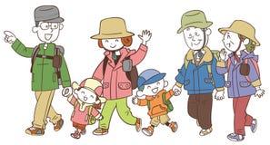 The three-generation family who hikes stock illustration