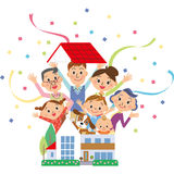 The three-generation family who jumps out of a house. It looks like close three-generation family jumps out of a house well stock illustration