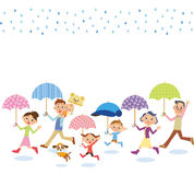 Three-generation family who puts up the umbrella. The three-generation family who puts up the umbrella happily on the rainy day stock illustration