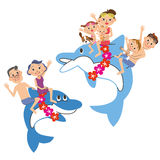 Three-generation family who rides a dolphin. I jump on a dolphin in three-generation family peacefully and enjoy it Royalty Free Illustration