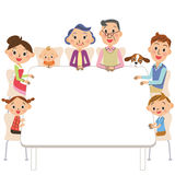 Three-generation family who sits down on a table. The three-generation family who surrounds the table with a smile peacefully Stock Illustration