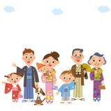 Three-generation family who wears a kimono Stock Photography