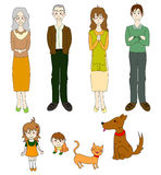 Three Generation Familys with Cat Dog in Color. Drawing Illustration vector illustration