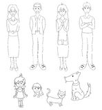 Three Generation Familys with Cat Dog. Drawing Illustration royalty free illustration