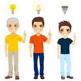 Three Generation Idea Light Bulb. Concept illustration of three generation family members with different kind of light bulbs representing new idea and thinking stock illustration
