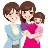 Three Generation Japanese Women. Young three generation family japanese women happy smiling together stock illustration