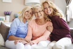 Three generation of women stock images