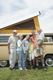 Three Generational Family With Campervan. Full length portrait of happy three generational family with campervan Stock Images