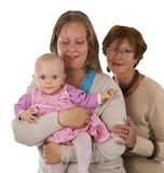 Three generations 7 on white stock image