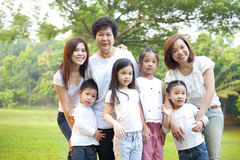 Three generations Asian family. Asian family portrait at outdoor park, 3 generations stock photography