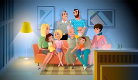 Big Family Evening Meeting at Home Vector Concept royalty free illustration
