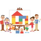 Three generations family building blocks canvas Stock Images