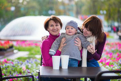 Three generations family in a cafe Stock Photography