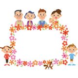 Three generations family and flower frame royalty free stock photo