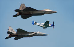 Three generations of US Air Force fighters stock images