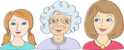 Three generations of women: the granddaughter, mother, grandmother Royalty Free Stock Images