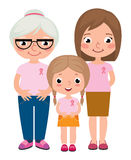 Three generations of women wearing pink shirt and ribbons for breast cancer Stock Photos