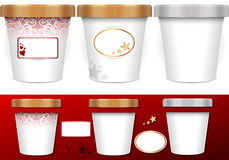Three generic cup for ice cream with labels. Detailed illustration of a Three generic cup for ice cream with labels Royalty Free Stock Image