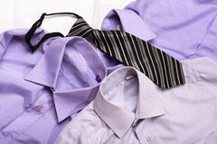 Three generic shirt with a line pattern and tie, closeup Royalty Free Stock Image