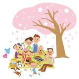 Three-generytion家庭是樱桃开花观察 图库摄影