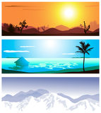 Three geographical locations. A series of illustrations of 3 geographical locations Royalty Free Stock Photo