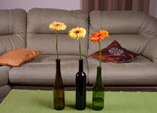 Three gerberas. Three gerbera flowers in interior stock photography