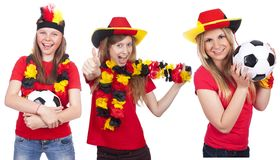 Three german female football fans Royalty Free Stock Image