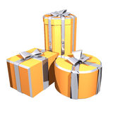 Three gift. + Clipping paths (selection from a background Royalty Free Stock Photo