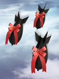 Three gift aerobomb on a sky cloudy background Stock Image