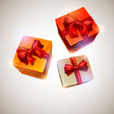 Three gift box. Stock Photos