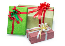 Three gift box with ribbons bow. Three gift box with  ribbons bow on white backgound Stock Images