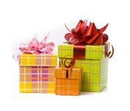 Three Gift Box Studio Shot Stock Image
