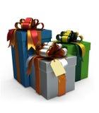 Three Gift Box and a Tag. Three Gift Box and a Tag on white background royalty free illustration