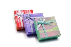 Three gift boxes. Isolated on the white Stock Photo