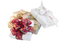 Three gift boxes. Set of three beautifully packed gift boxes Royalty Free Stock Photos