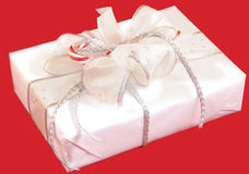 Three gift boxes. Set of three beautifully packed gift boxes Stock Photo