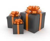 Three gift boxes with bows on white Stock Images