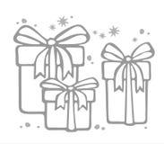 Three gift boxes contour Royalty Free Stock Photo