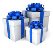 Three gift boxes. 3d illustration on white background Royalty Free Stock Photography