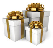 Three gift boxes. 3d illustration on white background Royalty Free Stock Photo
