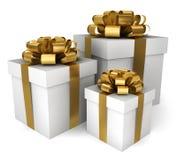 Three gift boxes. 3d illustration on white background Royalty Free Illustration