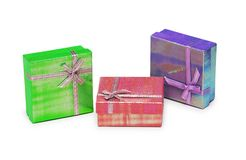 Three gift boxes isolated. On the white Stock Photography