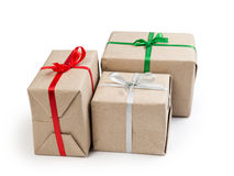 Three gift boxes from recycled paper Stock Photography